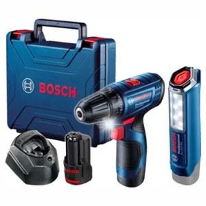 Skruemaskine Bosch GSR 120-Li; 12 V; 2x2,0 Ah batteri. + lommelykt GLI 12V-300