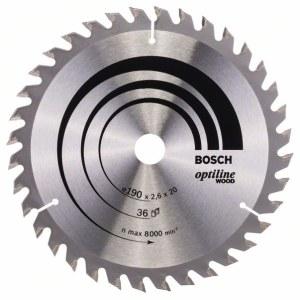 Rundsavsklinge til træ Bosch OPTILINE WOOD; 190x2,6x20,0 mm; Z36; 15°