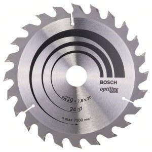 Rundsavsklinge til træ Bosch OPTILINE WOOD; 210x2,8x30,0 mm; Z24; 15°