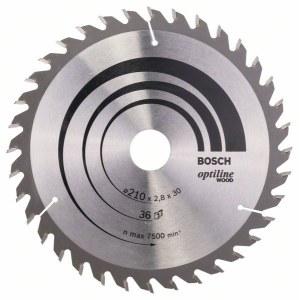 Rundsavsklinge til træ Bosch OPTILINE WOOD; 210x2,8x30,0 mm; Z36; 15°