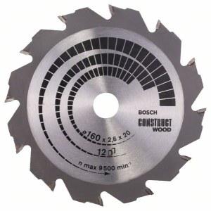 Rundsavsklinge til træ Bosch CONSTRUCT WOOD; 160x2,6x20,0 mm; Z12; 12°