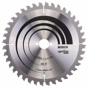Rundsavsklinge til træ Bosch OPTILINE WOOD; 250x3,2x30,0 mm; Z40; -5°