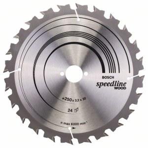 Rundsavsklinge til træ Bosch SPEEDLINE WOOD; 250x3,2x30,0 mm; Z24; 15°
