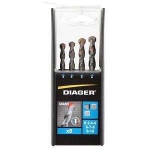 Sæt med borer til beton Diager; 3/4/5/6/7/8/9/10 mm; 8 stk.