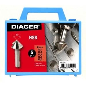 Forsænker Diager 504C;  8,3/10,4/12,4/16,5/20,5 mm; 5 stk.