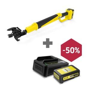 Grensaks Karcher TLO 18-32; 18 V (uden batteri og oplader) + Karcher Power 18 V; 2,5 Ah + Hurtigoplader Power
