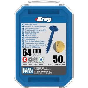 Træskrue Kreg SML-C250B; Maxi-Loc; 2,50''; 64 mm; 50 stk .; blå