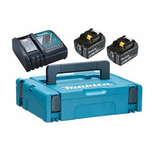Batteri Makita 197624-2; 18 V; 2x5,0 Ah; Li-ion + lader DC18RC + koffert