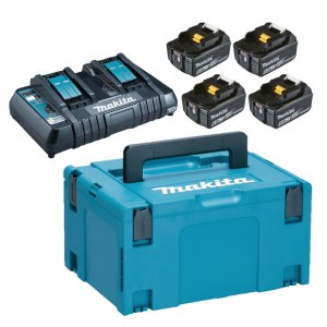 Tilbehørssæt Makita Powerpack; 18V; 4x6,0 Ah + DC18RD