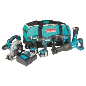 Værktøjssæt Makita DLX6038T (DDF482+DTD152+DHR202+DSS610+DJR186+DTM51);18 V; 3x5,0 Ah batt.